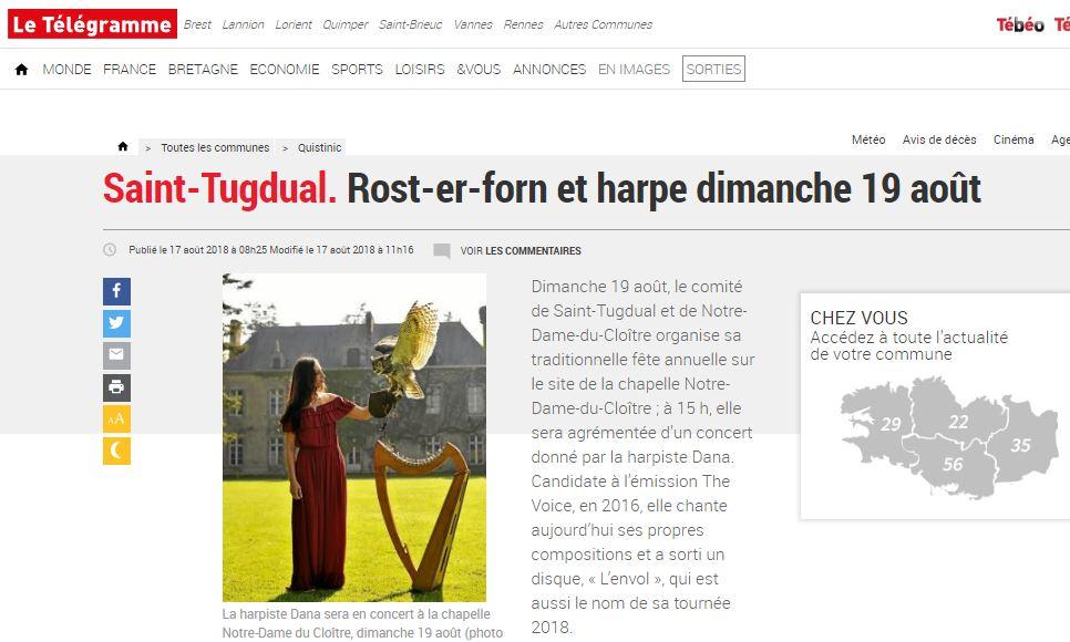 Saint-Tugdual. Rost-er-forn et harpe dimanche 19 août
