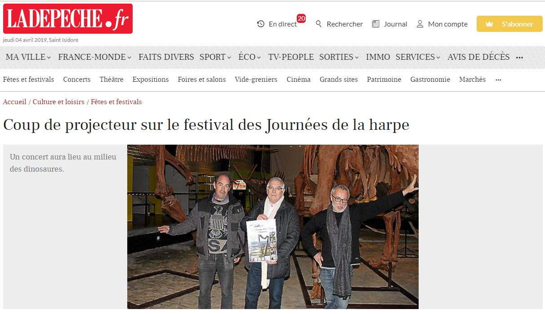 Festival des journees de la harpe la depeche